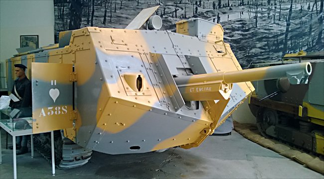 Surviving WW1 St-Chamond French Heavy Tank with its 75mm gun