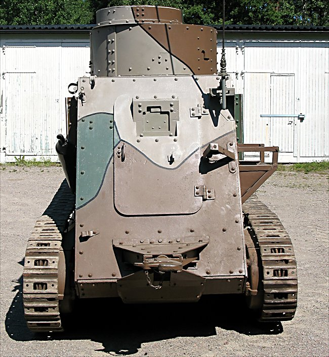 Rear view of a surviving Swedish m/21-29 tank