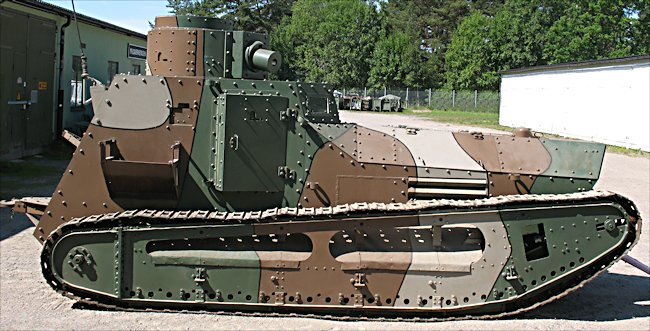 side view of a surviving Swedish m/21-29 tank
