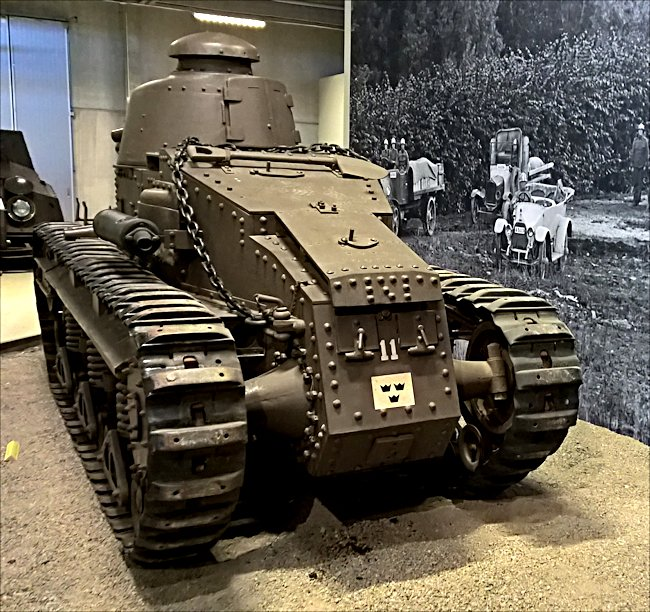 rear view of a surviving Swedish fm/28 tank