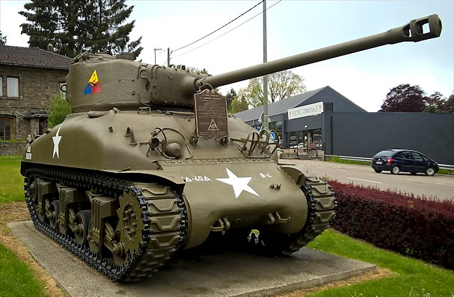 Surviving Battle of the Bulge 1944 M4A1 76mm Sherman Tank in the village of Vielsalm in Belgium