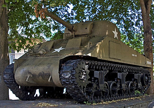 Surviving Battle of the Bulge 1944 M4 Sherman Tank in the grounds of Wiltz Castle in Luxembourg