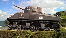 Surviving Battle of the D-Day 1944 Sherman tank in Arromanches-les-Bains France