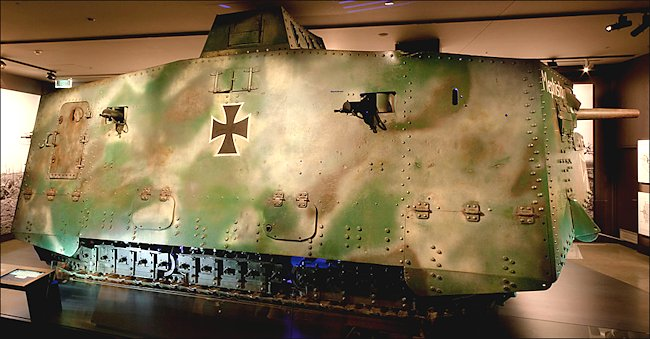 Surviving WW1 German Sturmpanzerwagen A7V tank in Canberra Australia