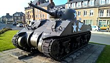 Surviving Battle of the D-Day 1944 M4A4T Sherman tank in Avranches, France