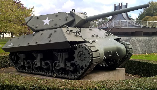 Surviving Battle of the D-Day 1944 M10 Wolverine tank destroyer in Bayeux France