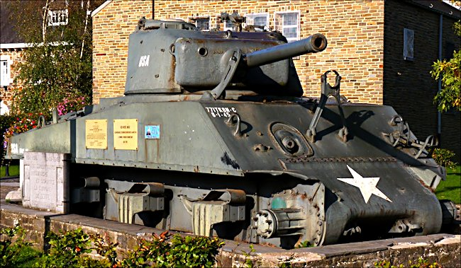 Preserved M4A3(76)W Sherman Tank in the village of Beffe in Belgium