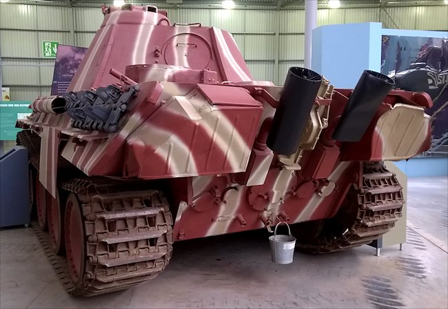 Rear view of the surviving Panzer V Panther Tank at Bovington Tank Museum England