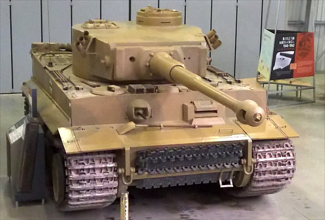 Front view of the preserved German Tiger I Ausf. E Heavy Tank panzerkampfwagen VI