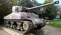 Surviving Battle of the D-Day 1944 M4A1 Sherman tank in Camp Patton France