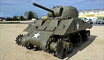 Surviving Battle of the D-Day 1944 M4A2 Sherman tank in Normandy Tank Museum Catz France