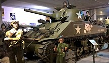 Surviving Battle of the D-Day 1944 M4A1 Sherman tank in Normandy Tank Museum Catz France