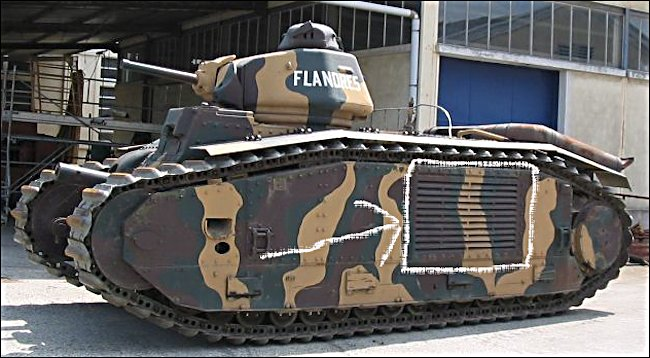 This is the weak spot on the Char B1 bis Renault French Heavy Tank