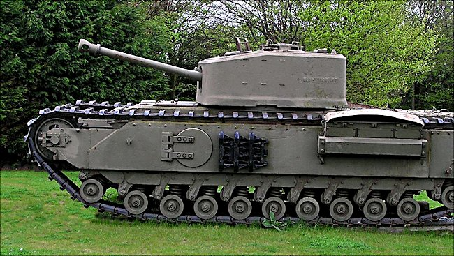 Surviving Churchill Crocodile Flame Thrower D-Day Tank outside the Muckleburgh Military Collection in Norfolk