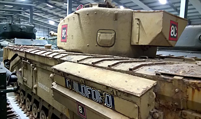 Side view of a surviving British Churchill Mark IV Heavy Tank