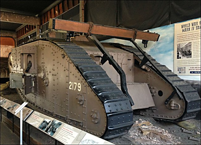 Surviving WW1 British Mark IV Female Tank in Lincoln