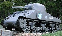 Surviving Battle of the D-Day 1944 M4A2 Sherman tank in Foret D'Ecouvers France