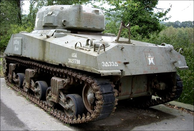 Preserved British Sherman Firefly Tank saw action in the WW2 Battle of the Bulge
