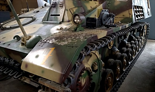 Surviving German Hummel self propelled artillery gun's  jack was secured behind the front driving headlight.