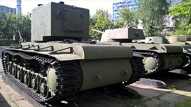 Rear view of a preserved Russian Soviet WW2 KV-2 Heavy Tank