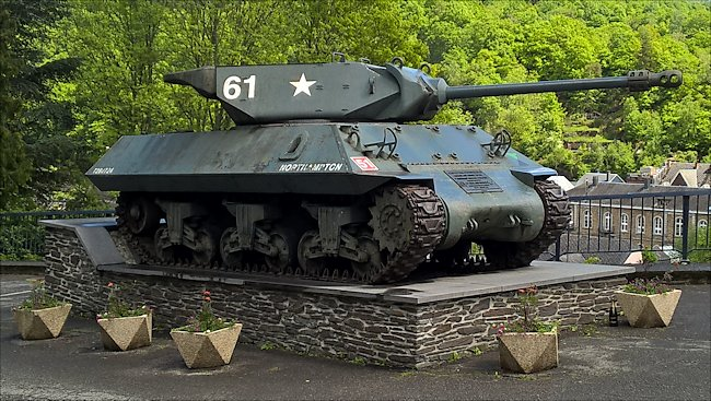 Surviving British Achilles 17pdr Tank Destroyer in the pretty village of La Roche-en-Ardenne, Belgium