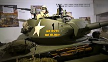 Surviving Battle of the D-Day 1944 M24 Chaffee tank in Normandy Tank Museum Catz France