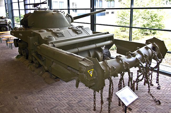 Surviving Sherman Crab Flail Mine Clearing Tank at the National War and Resistance Museum, Overloon, Netherlands