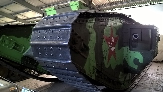 Surviving WW1 Russian Mark V Composite Hermaphrodite Tank can be found in the Kubinka Tank Museum, Russia