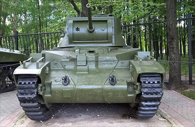 Restored Matilda III CS Close Support Tank in the Central Museum of the Great Patriotic War 1941 - 1945, Park Pobedy, Moscow.