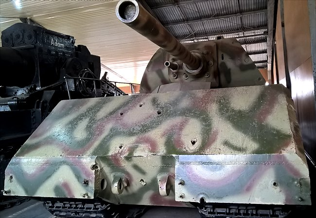 Front view of a preserved German Maus Super Heavy WW2 Tank Panzerkampfwagn VIII