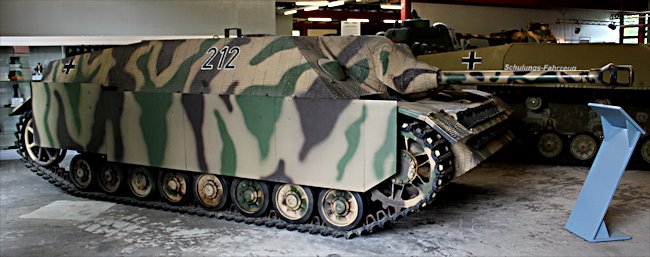 Surviving German WW2 Jagdpanzer IV Tank Destroyer can be found at the Deutsches Panzermuseum in the small military town of Munster, Germany.