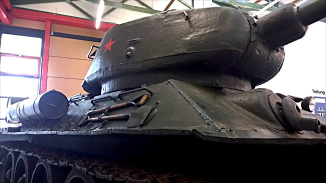 Surviving T34/85 Russian Soviet WW2 Medium Tank can be found at the Deutsches Panzermuseum in the small military town of Munster, Germany