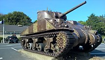 Surviving Battle of the D-Day 1944 M4A4T Sherman tank in Omaha Beach France