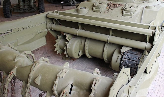 Preserved Sherman Crab Flail Mine Clearing Tank at the National War and Resistance Museum, Overloon, Netherlands