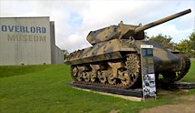 Surviving Battle of the D-Day 1944 M10 Wolverine tank in Colleville-sur-Mer France