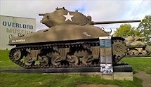 Surviving Battle of the D-Day 1944 M4A1 Sherman tank in Colleville-sur-Mer France