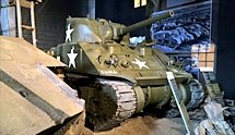 Surviving Battle of the D-Day 1944 Sherman M4A4 tank in Colleville-sur-Mer France