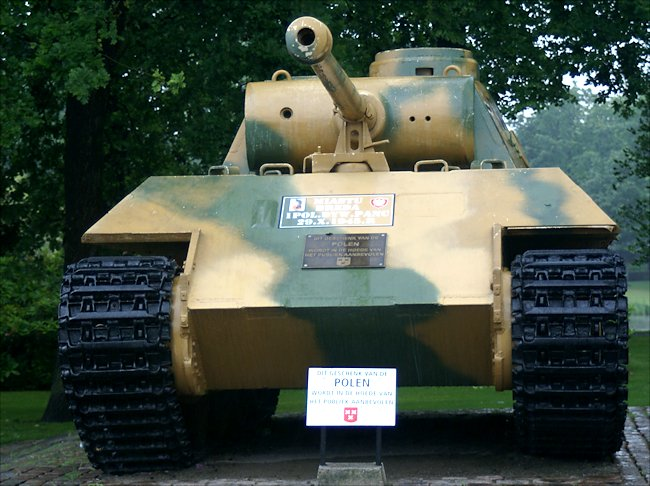 Front view of the surviving Panzer V Panther Tank Ausf D in the Dutch city of Breda in Southern Holland