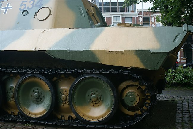 rear track view of the surviving Panzer V Panther Tank Ausf D in the Dutch city of Breda in Southern Holland