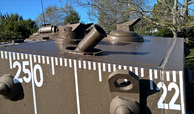 Smoke launchers and periscopes on top of the 