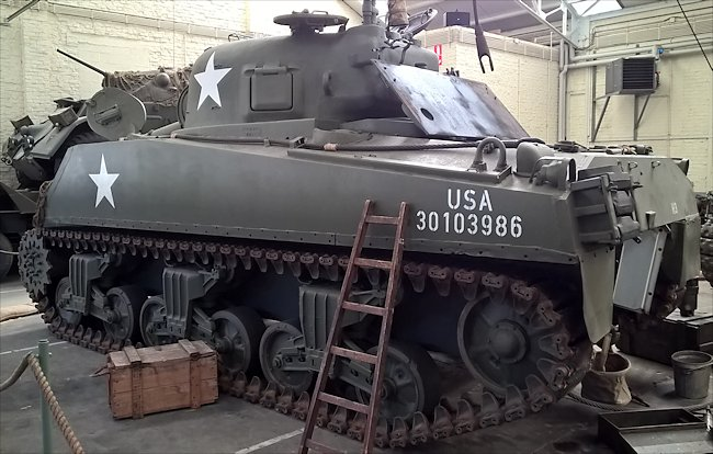 Rear view of a M4A3 (105) Sherman Tank 105mm Assault Gun