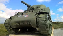 Surviving Battle of the D-Day 1944 M4A2 Sherman tank in Utah Beach France