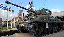 Surviving Battle of the D-Day 1944 M4A1E8 Sherman tank in Saint-mere-Eglise France