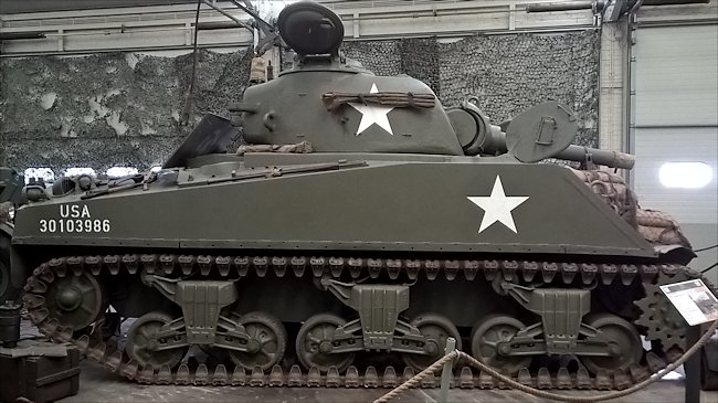 Side view of a WW2 M4A3(105) Sherman Tank 105mm Assault Gun