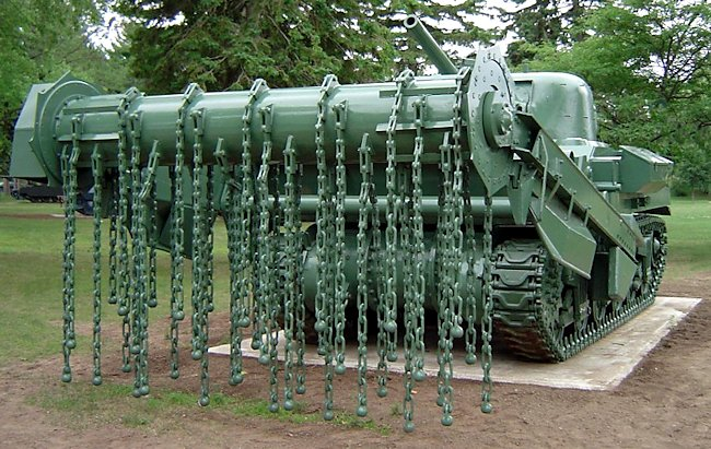 Preserved Sherman Crab Flail Mine Clearing Tank at the Borden Military Museum, Ontario, Canada