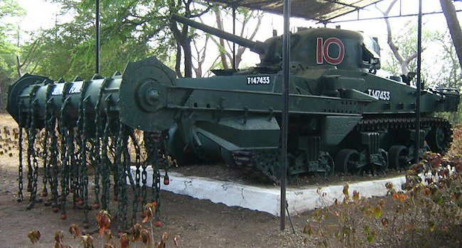 Preserved Sherman Crab Flail Mine Clearing Tank at the Armoured Corps Museum, Ahmednagar Maharashtra, India