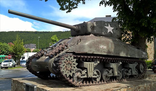 Surviving American  M4A1(76)W Sherman Tank in the pretty village of La Roche-en-Ardenne, Belgium