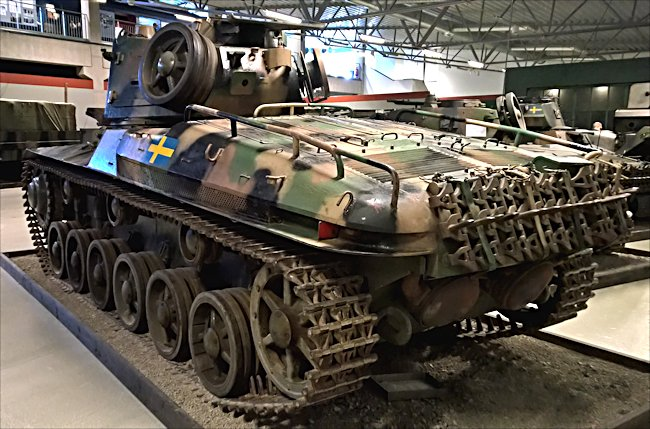 Surviving Swedish m/42 Tank rear and side view