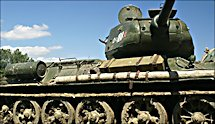 Surviving T34/85 Russian Soviet WW2 Medium Tank on display at the Military Odyssey Show in Southern England