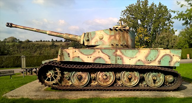 SIde view of the Vimoutiers Tiger Tank used in Normandy
